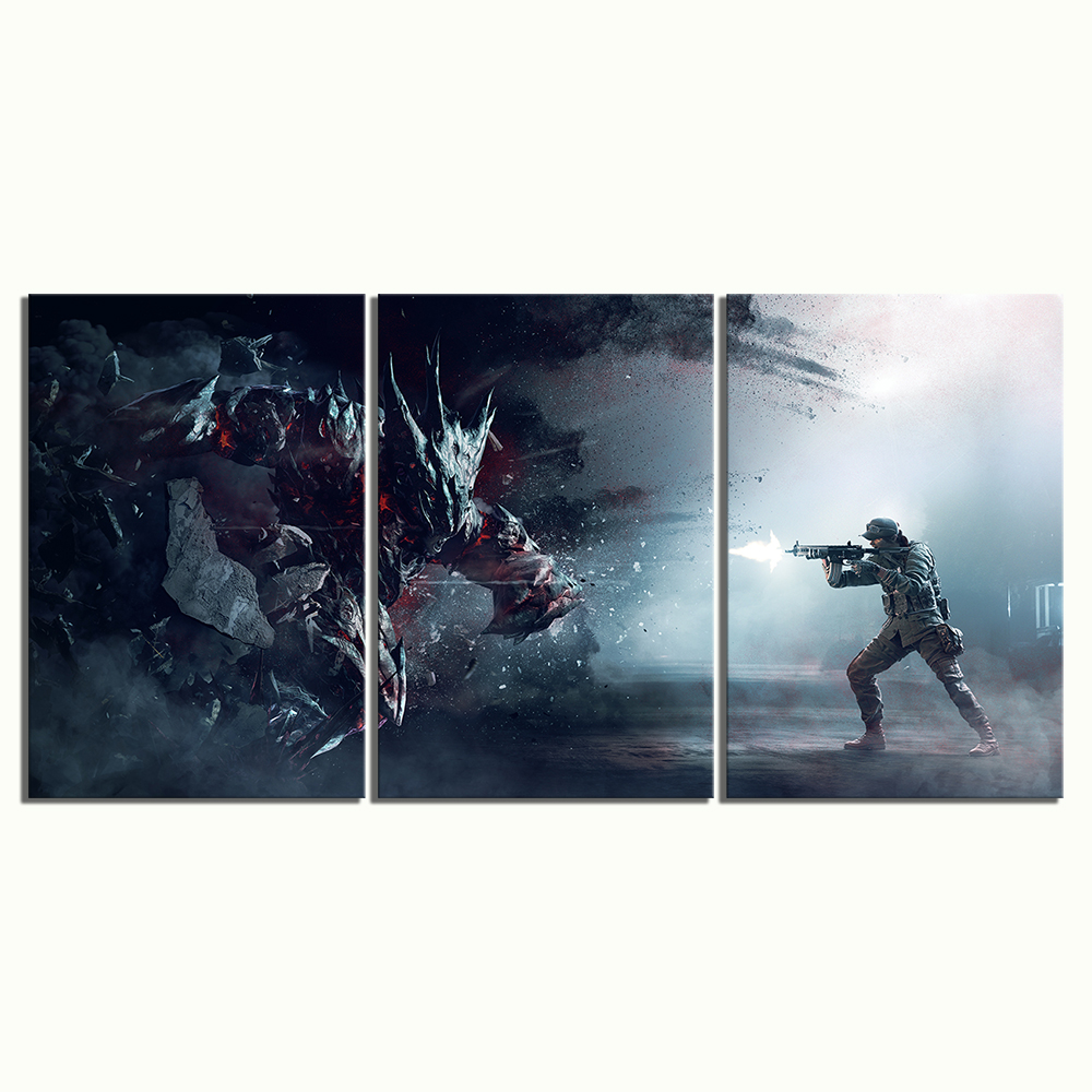 Canvas Painting Prints Home Decoration 3 Panel Shooting Game Tom Clancy 39 S Rainbow Six Siege Wall Artwork Modular Pictures Poster in Painting amp Calligraphy from Home amp Garden