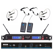 STARAUDIO 2Ch Skilled DJ UHF Wi-fi Headset DIGITAL DISPLAY Microphone System Mic SMU-0204B