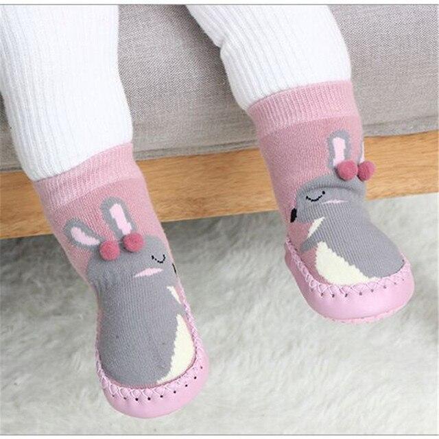 Домашние носки для малышей; обувь новорожденного; носки; зимние толстые махровые хлопковые носки для маленьких девочек с резиновой подошвой; забавные носки для младенцев с животными