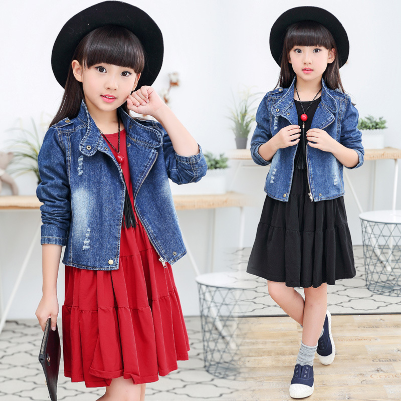 Girl Child Pure Cotton Dress Trend Cowboy Cardigan Loose Coat Korean New Two Pieces Kids Clothing Sets spring clothes new pattern girl korean trend fashion leisure time letter girl child cowboy 2 pieces kids clothing suits sets