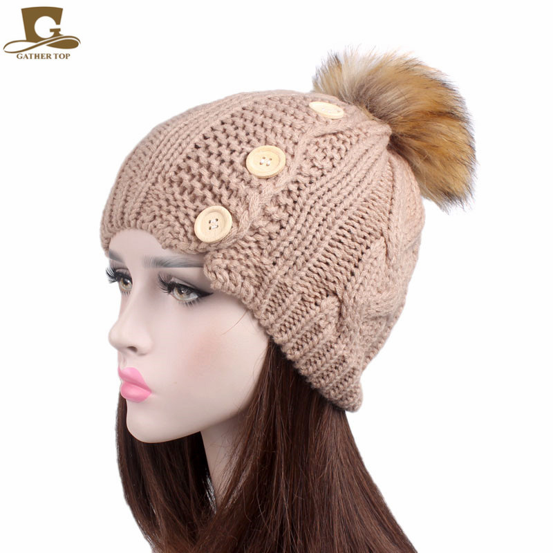 New Pom Pom Hat For Women Grils Skullies Women's Beanies Warm Knitted Hat with wood Buttons Winter Cap Women Beanie Hat skullies