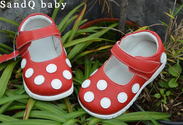 Clássico! Sapatos meninas com bolinhas brancas primavera queda de couro genuíno para as crianças criança sapatos mary jane criança suave sole