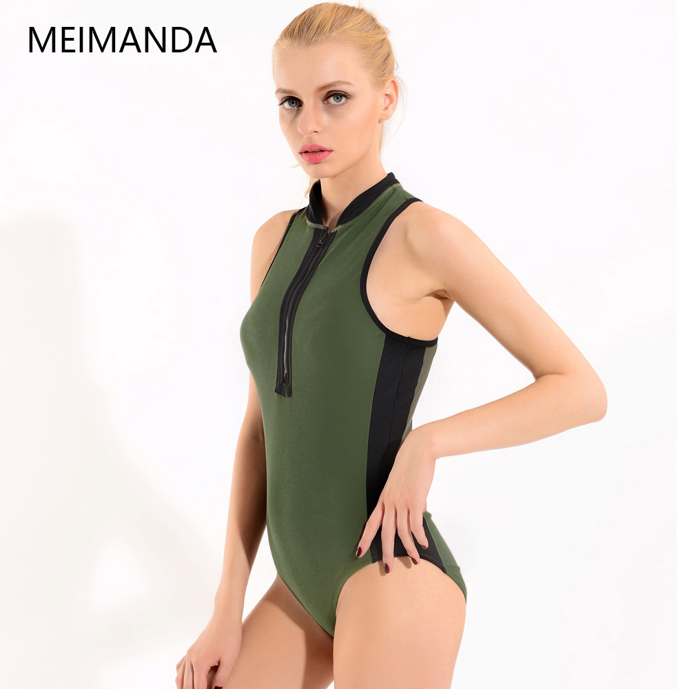 a22d82dcb4 Meimanda New One Piece Suits Soprts Swimwear Top High Neck Tankini Vintage  Retro Swimsuits Front Zip