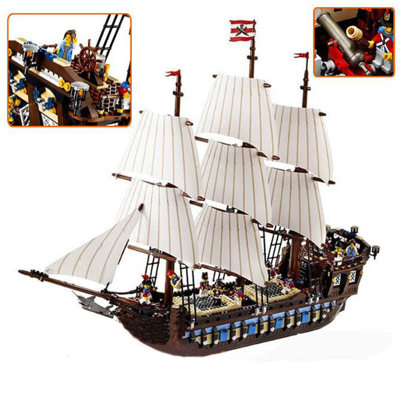 Pirate Series Imperial Warship Building Blocks Education 1717pcs Construction Toys Gifts For Children Compatible Lepin 22001 kazi 608pcs pirates armada flagship building blocks brinquedos caribbean warship sets the black pearl compatible with bricks