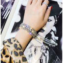 FYUAN Fashion Full Rhinestone Bracelet For Women 2019 Shiny Long Tassel Crystal Bracelets & Bangles Jewelry Gifts