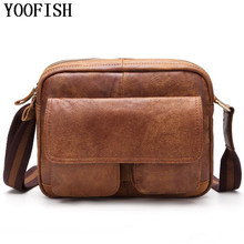 YOOFISH Genuine Leather Shoulder Bags Casual Fashion Men Messenger Bag  Male Tote Vintage New Crossbody men`s bag LJ-831