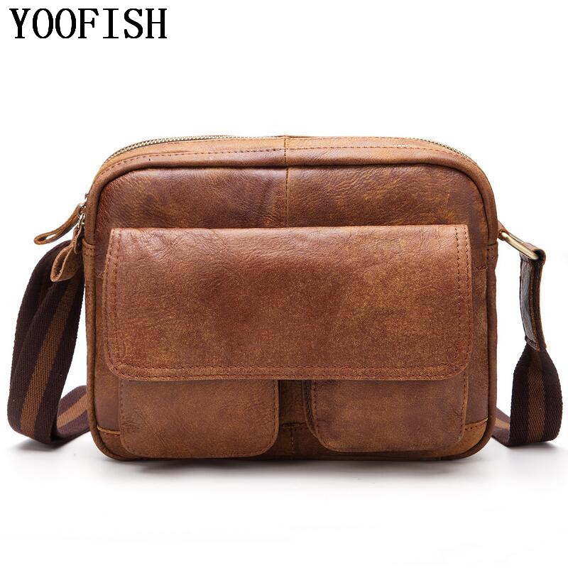 YOOFISH Genuine Leather Shoulder Bags Casual Fashion Men Messenger Bag Male Tote Vintage New Crossbody Bags