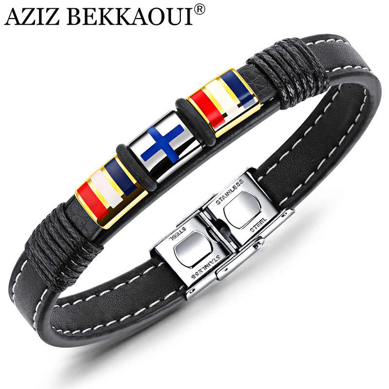 AZIZ BEKKAOUI Black Multilayer Leather Cross Bracelet for Men Stainless Steel Rope Chain Bracelets Fashion Man Jewelry Gift