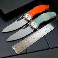 High Quality Outdoor Camping Survival Tactical Folding Knives D2 Blade Plating Titanium Steel Handle Flipper EDC