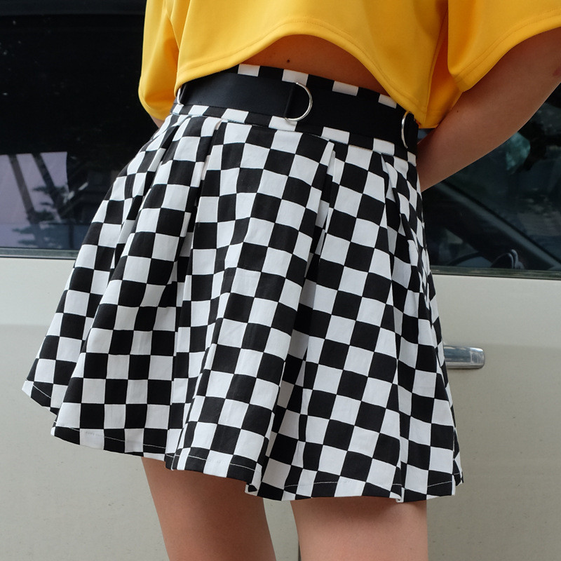 2018 Summer Zip Chequered Plaid Mini Skirt Black White Grid Skirt Ring Harajuku Pleated Skirt