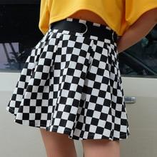 2018 Summer Zip Chequered Plaid Mini Skirt Black White Grid Skirt Ring Harajuku Pleated Skirt o ring zip up metallic skirt