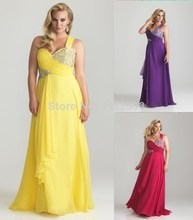 Plus Size Christmas Party Dresses One Shoulder Beaded Open Back Chiffon Long Prom Gowns 2016 New Arrival