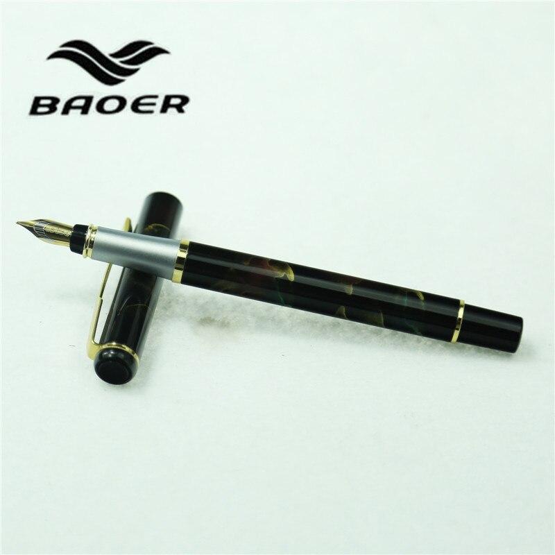 1pc/lot Baoer 801 Fountain Pen 6 Colors Black/Red/Green/Silver Luxury Metal Pens Baoer Gold Clip School Supplies 13.2cm hero 616 retro style pc fountain pen green red black 10 pcs