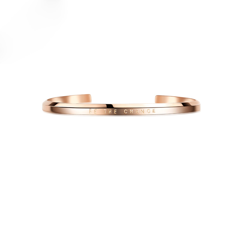 Europe Titanium Bangles Lovers Opening Rose Gold Lettering Stainless Steel Bracelets For Women Men Jewelry Couple Bracelet High Quality And Inexpensive Back To Search Resultsjewelry & Accessories