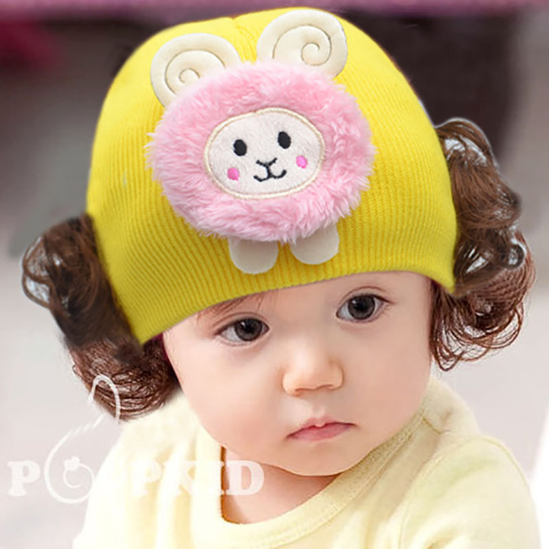 New Baby knitted Wool Earmuffs Wig Cap Photo Decorative Cap Good Quality Wig Cap Warm Knitted Hat Cute Cartoon Animal Cap(China)