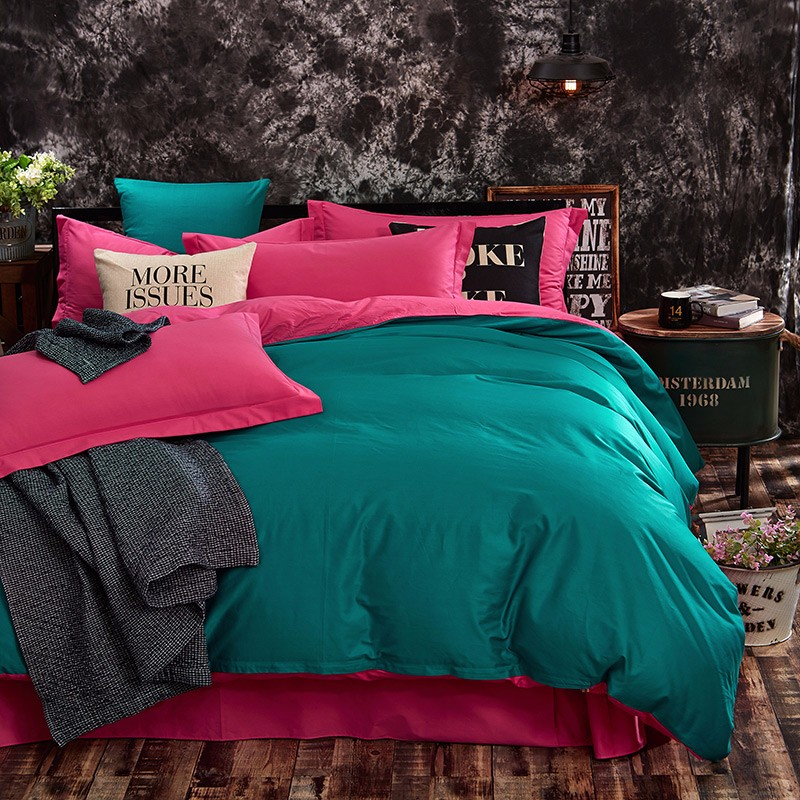 100% Cotton Black Red Color King, Queen, Twin, Size Bedding Set, Solid Color Duvet Cover Set, Bed sheet /Fitted Sheet, Pillowcases 44