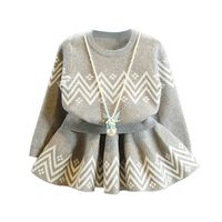 Europe Style Baby Girl Clothes Set Vintage Toddler Cotton Grey Wave Stripe Tops Skirt 2pcs Set