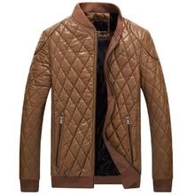 Brieuces New Brand pu Leather Clothing Mens Jacket Coat Fall Winter Biker Bomber Plus velvet padded baseball uniform jacket
