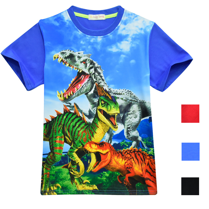 Jurassic Park World 2 dinosaur Children Kids Shorts Tops Tees T Shirt Fille Summer Teenager Boys Dragon T-Shirt For boy 4-12Y stylish boy s head portrait print t shirt letter pattern knee length shorts twinset