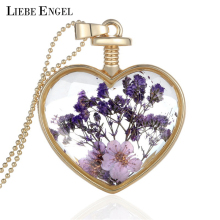 LIEBE ENGEL Collares Purple Dried Flowers Heart Crystal Glass Pendant Necklace Golden Necklace Best Friendship Fine Jewelry 2017