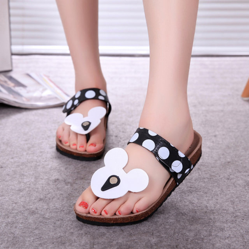 Woman Sandals Summer Mouse Shoes Mujer Cute Dot Flip Flops Women Cork Slippers Ladies Girls Flat Sandals Beach Shoes Plus Size casual bow slides women summer beach shoes woman leather slippers flat flip flops ladies sandals
