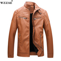 Men Leather Jacket Fashion Brand Quality Fleece Lined Motorcycle Bomber Faux Leather Coats Male Outerwear Winter Jacket 5XL