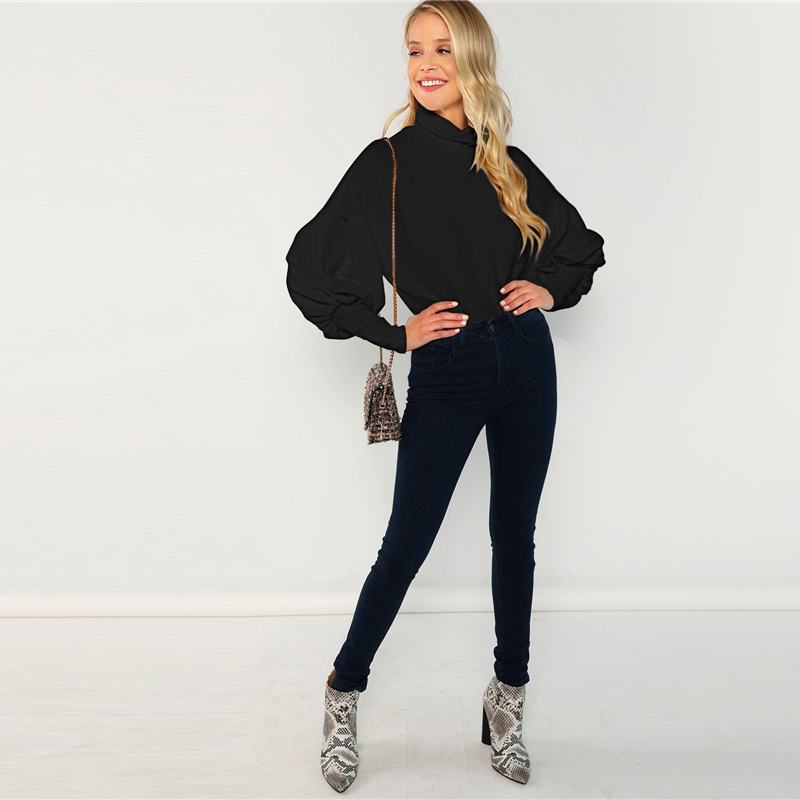 Black Mock Neck Leg of Mutton Sleeve Solid Pullover Sweatshirt