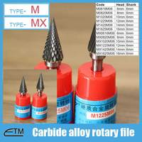 1 Piece Tungsten Carbide Alloy Rotary File Milling Cutter Drill Bit For Carving Sculpture Type M