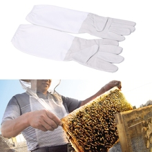 1 Pair Beekeeping Protective Gloves Professional grade Unisex gloves Vented Long Sleeves Faux Goatskin Tools
