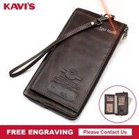KAVIS Genuine Leather Men Wallet Male Clutch Purse Walet Long Portomonee Rfid PORTFOLIO Clamp For Money Coin Handy Fashion