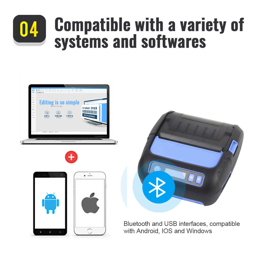 MHT-P80F 2 em 1 Fabricante Da Etiqueta da Impressora Térmica de Recibos POS Impressora 80 milímetros Bluetooth para Android/iOS/Windows Bar código de Etiqueta