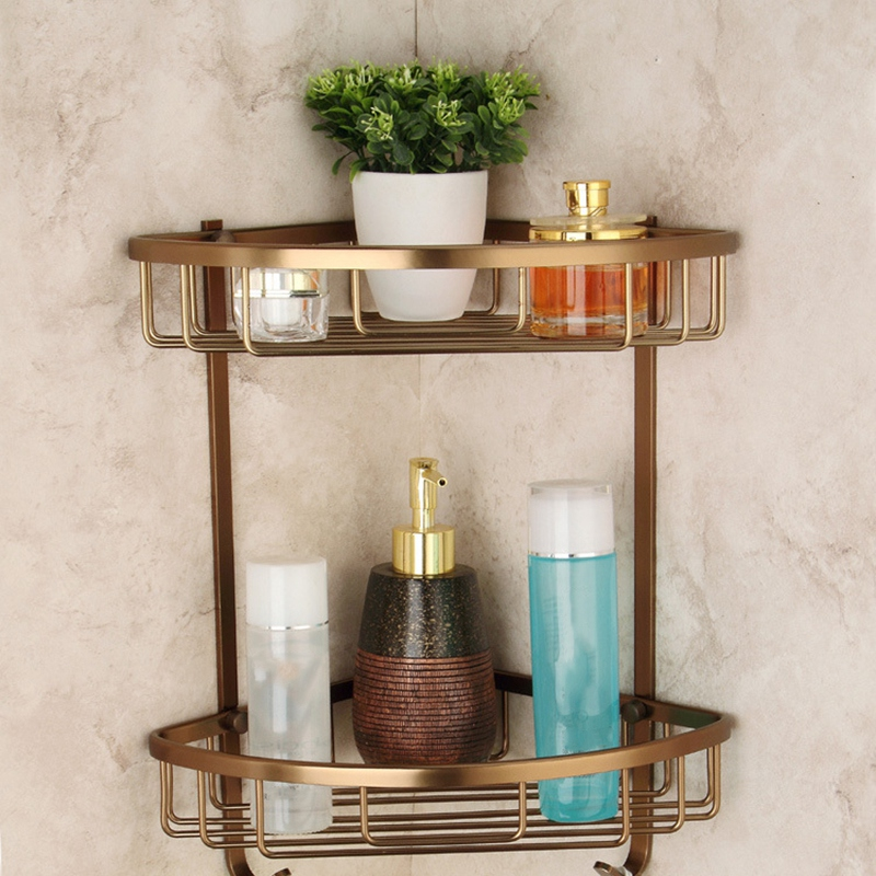 Wall Mounted Antique Finish Aluminum Bathroom Shower Shampoo Shelf Basket Holder Fashion Double Layer image