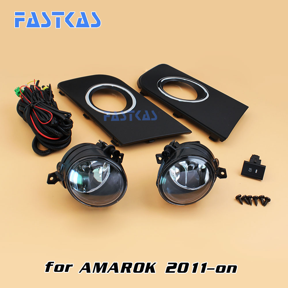 12v 55w Car Fog Light Assembly for VW Amarok 2011-on Front Left and Right set Fog Light Lamp with Harness Relay right side for vw polo vento derby 2014 2015 2016 2017 front halogen fog light fog lamp assembly two holes