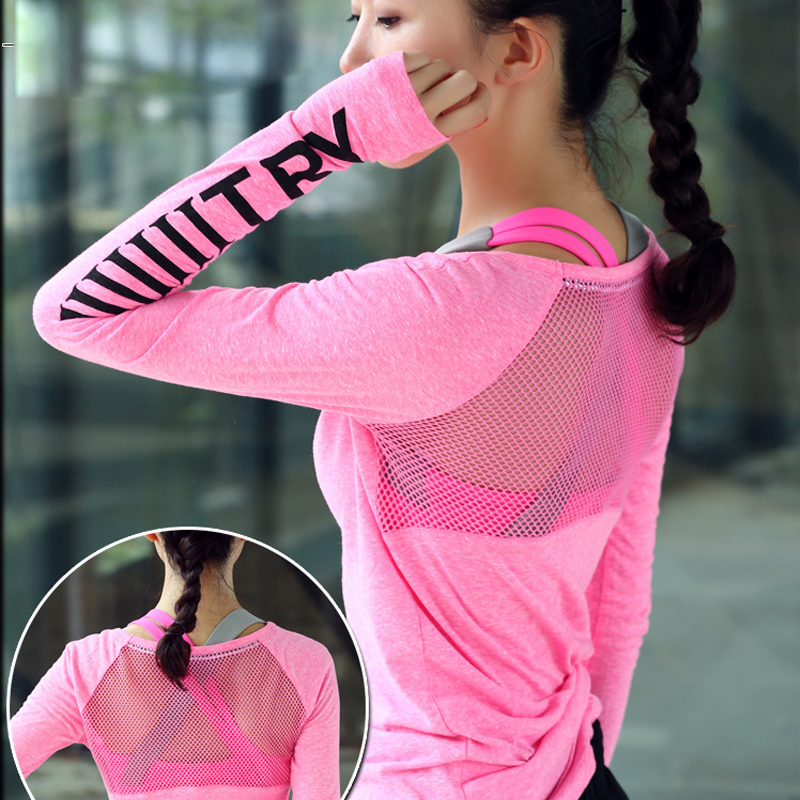 T-Shirt Yoga Sportswear Jersey Tops Thumb-Hole Gym Fitness Quick-Drying Breathable Women's title=