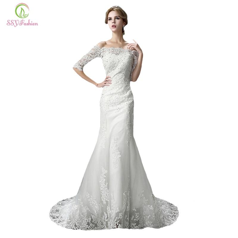 Ssyfashion Long Sleeve Wedding Dresses The Bride Elegant: The Bride Mermaid Wedding Dress SSYFashion New Sexy Slim