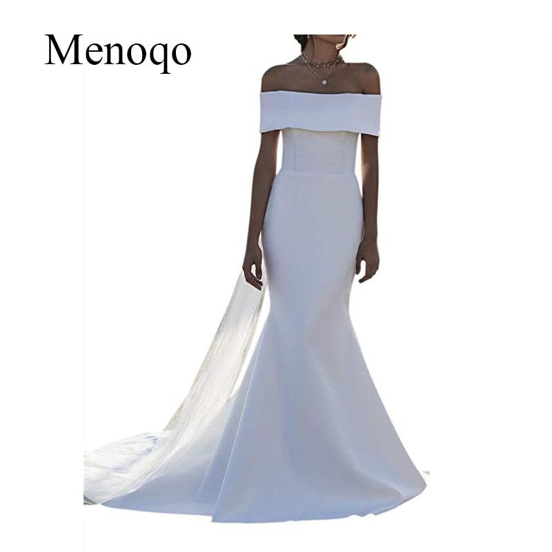 White Ivory Off The Shoulder Wedding Dresses 2019 vestidos de novia Mermaid Bridal Dress Long Train Handmade Wedding Gowns