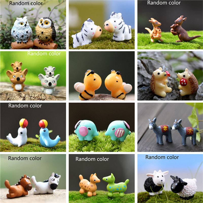 1 Pcs Random Color Micro Landscape Cute Cartoon Animal Resin DIY Garden Home Decoration Figurines Miniatures