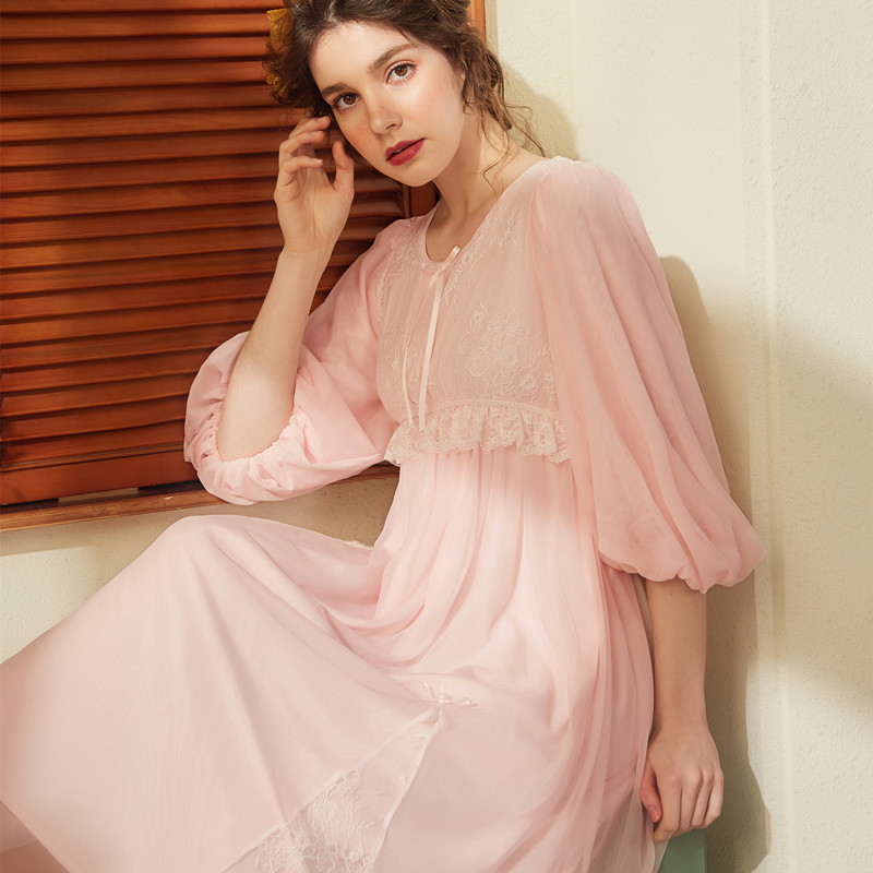 Cotton Sleep Lounge Vintage Night Dress Spring Women Sleepwear Dress Nightdress Homewear Princess Long Nightgown Sleepshirts