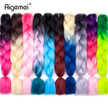 Aigemei Jumbo Braids Crochet Braid Hair Synthetic Extensions 24inch High Temperature Ombre Braiding For Women