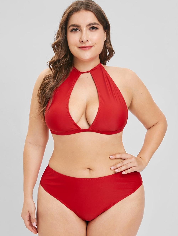 484e2cdbc2047 2019 Plus Size Bikinis Women Swimsuit High Waist Bathing Suit Large Size Swimwear  Push Up Bikini Set Vintage Beach Wear Biquni