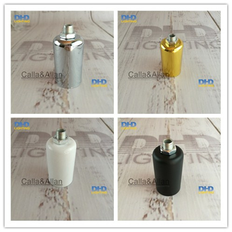 Sample order 2pcs/10pcs <font><b>E14</b></font>/E12 CE/UL silver color Edison filament bulb fitting pendant <font><b>lamp</b></font> holder aluminum ceramic <font><b>sockets</b></font> image