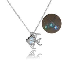 Cross Border New Pattern The Explosion Hollow Out Noctilucent Goldfish Cage Necklace Foreign Ornaments TFN003 shoul jewelry