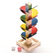 나무 나무 대리석 공 실행 트랙 게임 몬테소리 교육 장난감 블록 아기 어린이 지능 조기 교육 장난감