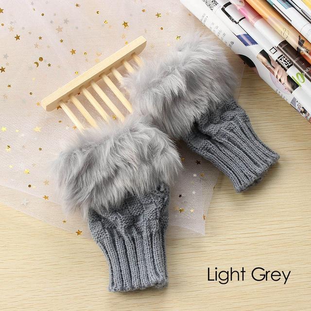1 пара модные женские туфли искусственного кролика Мех животных ручной наручные трикотажные митенки Прихватки для мангала осень-зима теплые варежки рождественские подарки