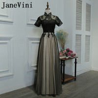 JaneVini Vestidos Chinese Style Black Evening Dress With Sleeve High Neck Lace Applique Tulle Mother of Bride Dresses Plus Size