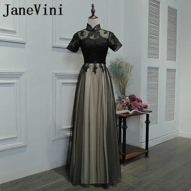 JaneVini Vestidos chiński styl czarny wieczór sukienka z rękawem wysoka Neck Lace aplikacja tiul koronka sukienki dla matki panny młodej Plus rozmiar
