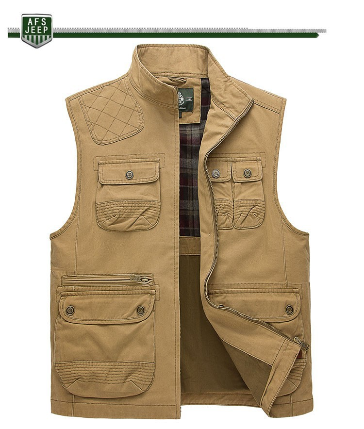 2015 Autumn Spring Casual Men Vest Coat AFS JEEP Cotton Multi Pocket 4XL Cargo Outdoor Hiking Sleeveless Jackets Waistcoat Vests (9)