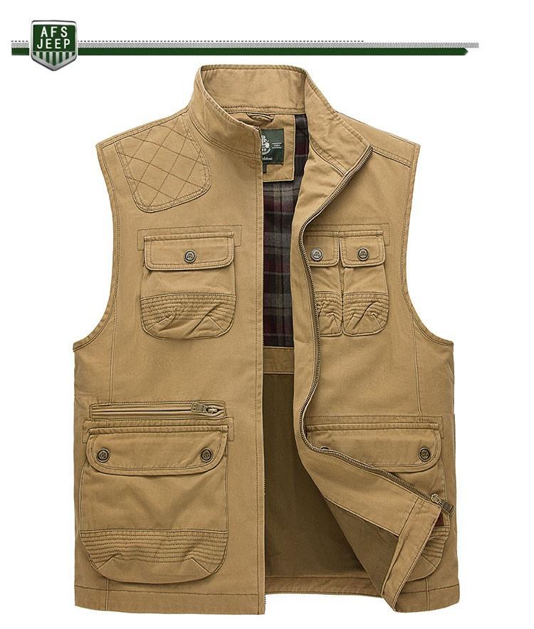 2015 Autumn Spring Casual Men Vest Coat AFS JEEP Cotton Multi Pocket 4XL Cargo Outdoor Hiking Sleeveless Jackets Waistcoat Vests (9)
