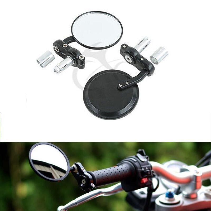 "7//8/"" Handle Bar End Convex Bar End Mirrors Motorcycle Chopper Bobber Cafe Racer"