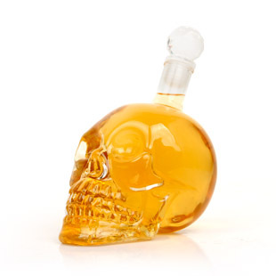 Crystal skull sobers up device red wine sobering pot portable metal bucket garbage glass free shipping